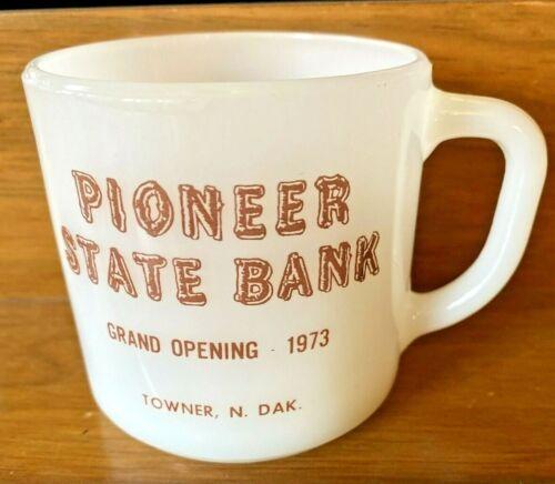 Rare 1973 Pioneer State Bank Towner ND North Dakota Milk Glass Mug Cup