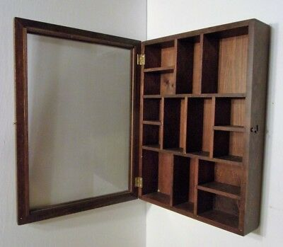Vtg Wood Glass Display Case Wall Curio Trinket Miniature Cabinet Shelf w/glass