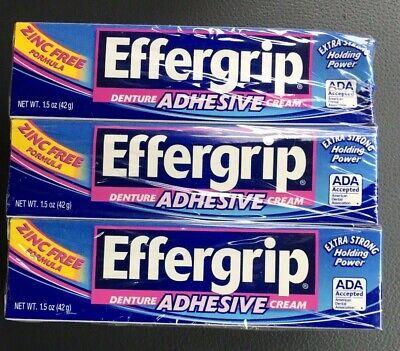 6 Pack Effergrip Denture Adhesive Cream 1.50 oz Each FREE SHIPPING Effergrip Denture Adhesive Cream