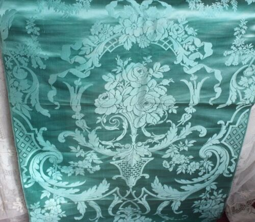 Rare Turquoise Antique French Silk c1860-80 Manufacturer