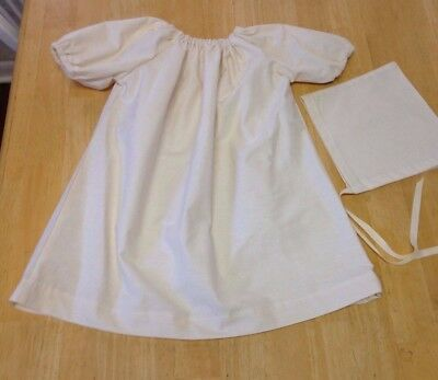 RENAISSANCE BABY CHEMISE AND BIGGINS HAT UNBLEACHED  COTTON MUSLIN SIZE XS