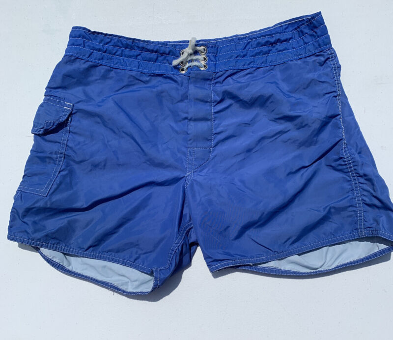 Vintage 1980's Men's Blue Swim Trunks Shorts Nylon Made In USA