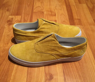 NEW MEN'S 9 HUF DYLAN SLIP ON SKATE SHOES IN YELLOW SUEDE