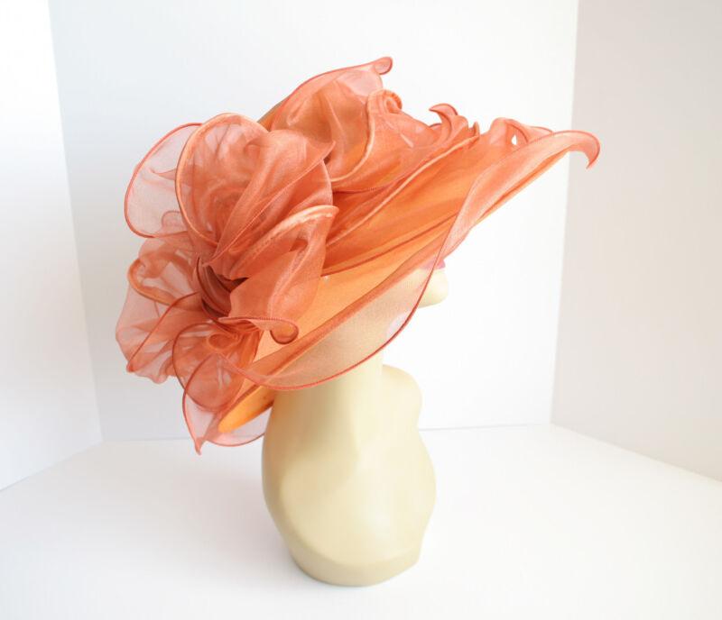 NEW Church Derby Wedding Organza w Jumbo Ascot Dress hat Copper VF1838