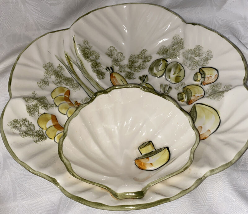 """Vintage Los Angeles Pottery Chip/ Veggie and Dip Bowl 13.5"""" Hand Painted"""
