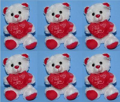 "6-pieces Valentine 7"" Stuffed Animal Plush Teddy Bear I LOVE YOU White Red Heart"