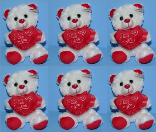 "Valentine 7"" Stuffed Animal Plush Teddy Bear I LOVE YOU White Red Heart LOT OF 6"