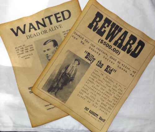 Billy the Kid & Jesse James Wanted Posters, Western, Outlaw, Old West