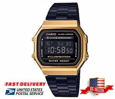 New Retro Casio Vintage Collection Black Gold Digital Retro Watch A168WEGB-1BDF