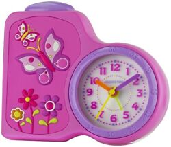 JACQUES FAREL Kids' Alarm Clock Analog Quartz Flowers Girls Acb 711 By Pink