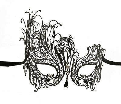 Mask from Venice - Luxury Venetian Lace Metal Black and Rhinestones 243 CA7