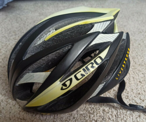 RARE Giro Ionos Cycling Helmet M Medium 55-59cm Livestrong Logo Black Yellow