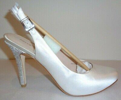 Pelle Moda Size 8 M SYLVIE 2 White Silk Rhinestones Heels New Womens Shoes - Moda Silk Heels