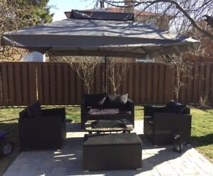 Patio set with umbrella, 4 piece wicker set with cushions