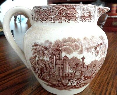 BROWN TRANSFERWARE PITCHER ~ THAMES RIVER SCENE ~ VERY OLD & PERFECT