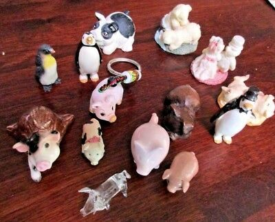 "3 Mini Porcelain Penguins and a whole l Pig Figurines Adorable Less Than 2"" Each"
