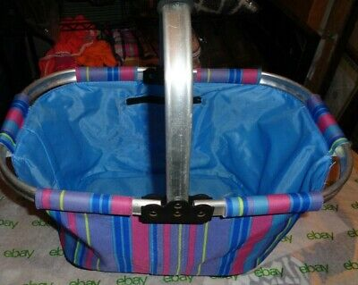 Metal Frame Striped Canvas Shoppers Fold Up Tote 15 10 8 Inside Zip Pocket