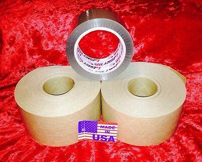 2 Roll Of 72mmx375ft Reinforced Gummed Kraft Paper 1 Roll Of Brown Tape Pkg Usa