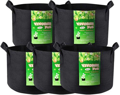 VIVOSUN 5 Pack Grow Bags Garden Non-Woven Aeration Plant Fabric Bag Container