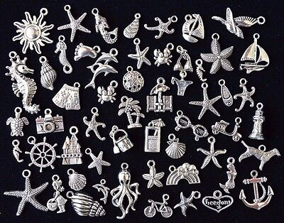 BEACH & OCEAN THEME CHARM SET, +50 pcs, 12mm to 24mm, Antiqued Tibetan Silver