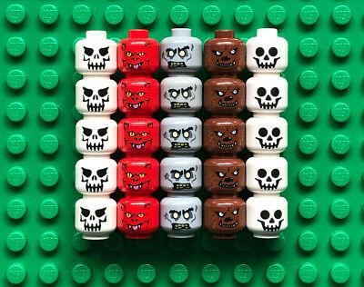 Lego Lot 25 SKELETON MINIFIGURE HEADS Werewolf Devil Zombie Monster Game Pieces