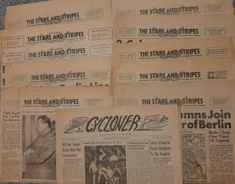 Vintage WWII Stars And Stripes German edition Newspapers April 1945 - May 45 WW2