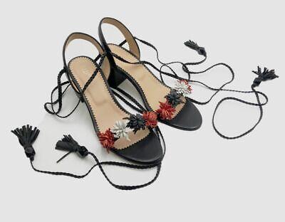 $599 Red Valentino Women's Black Fringe Wrap-Around Sandal Shoes Size 38/US 8