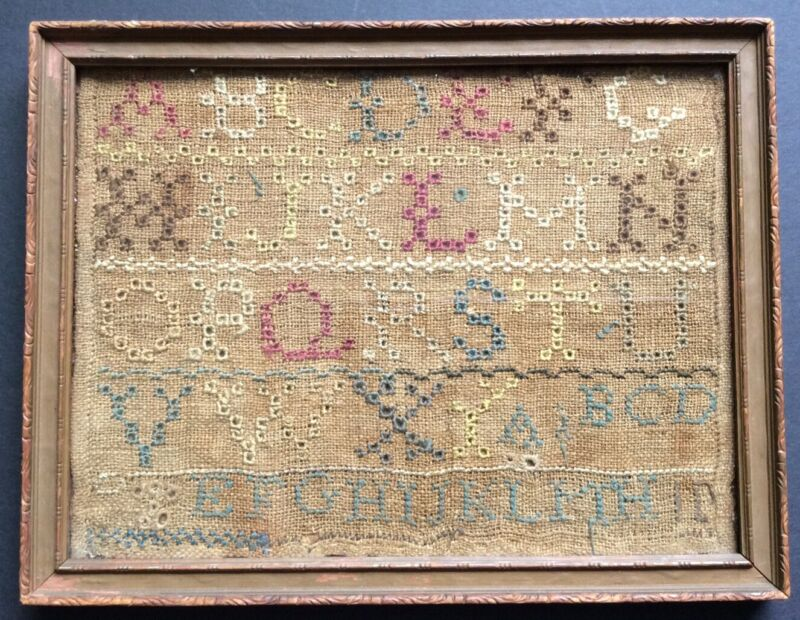 Original Victorian Hand Stitched Sampler Needlework