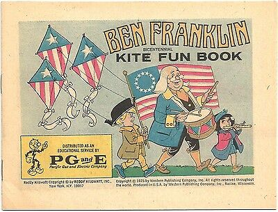 BEN FRANKLIN KITE FUN BOOK 1975 NM PGE PACIFIC GAS ELECTRIC MINI GIVEAWAY PROMO