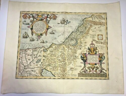 HOLY LAND 1579 ABRAHAM ORTELIUS UNUSUAL LARGE ANTIQUE MAP 16TH CENTURY