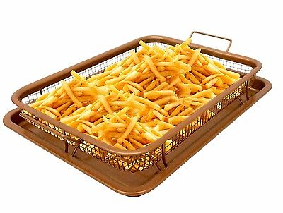 Gotham Steel Copper Crisper Tray XL- AIR FRY - 2 Piece Set - As Seen on TV - New