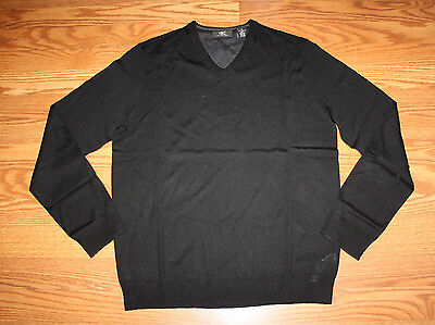 NWT Mens CALVIN KLEIN Black Light Weight Merino Wool V-Neck Sweater Sz L Large