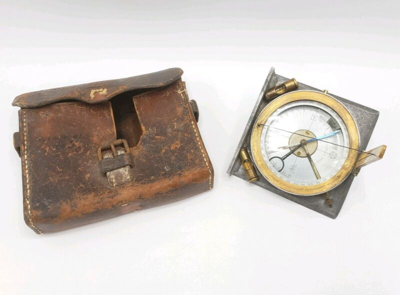 Antique W. & L.E. Gurley Surveyor's Compass With Leather Case Circa 1920