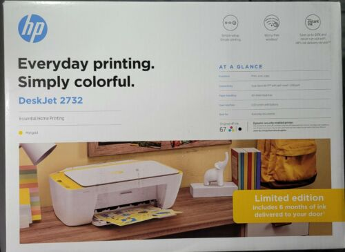 New HP Desk Jet 2732 Marigold Printer Scanner Wireless Bluet