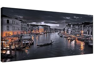 Black and White Venice Grand Canal Italy - Landscape Canvas Wall Art