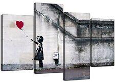 Extra Large Banksy Canvas Prints Balloon Girl 130cm XL Red   Set 4050