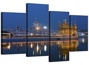 Sikh Canvas Art of Golden Temple Amritsar for Living Room - 4 Panel - Blue