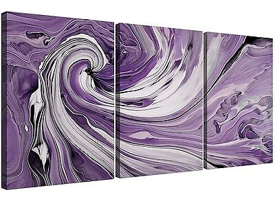 Purple and White Spiral Swirl - Multi Abstract Set of 3 - 125cm Wide - 3270