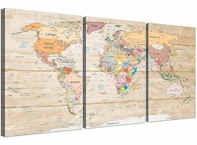 Large Map of the World Canvas Art Print - Colourful Cream - Split 3 Part - 3314
