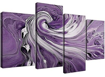 Purple and White Spiral Swirl - Multi Abstract Set of 4 - 130cm Wide - 4270