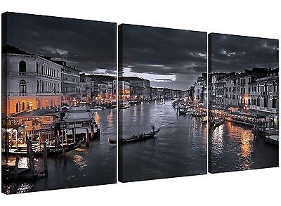 Black and White Venice Grand Canal Italy - Canvas Split 3 Panel 125cm Wide