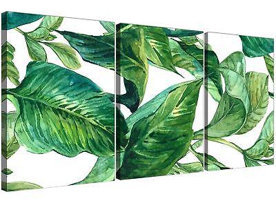 Green Palm Tropical Banana Leaves Canvas Wall Art Print - Multi 3 Panel - 3324