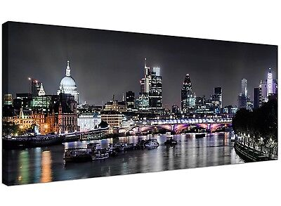 London Skyline at Night Canvas Art Prints in Black and White