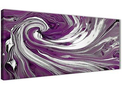 Purple White Swirls Modern Abstract Canvas Wall Art - Modern 120cm Wide - 1353