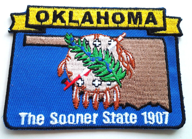 """OKLAHOMA STATE MAP (3-5/8"""") Biker Patch PM6737 EE"""