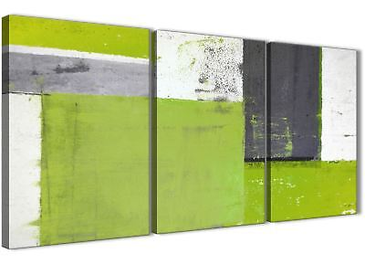 Lime Green Grey Abstract Painting Canvas Art Print - 3 Set - 125cm Wide - 3339