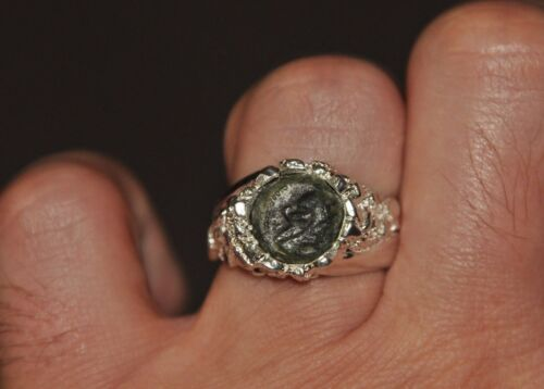 Cleopatra Authentic Ancient Bronze Coin 925 Sterling Silver Ring Sz 10 - 10.5