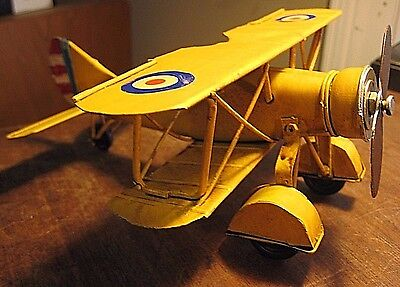 METAL BI-PLANE VINTAGE COLLECTORS MILITARY AIRCRAFT DECOR MODEL AIRPLANE DISPLAY