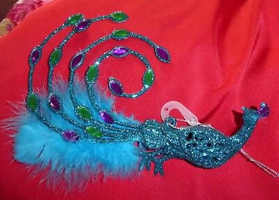STUNNING PEACOCK Blue FEATHERS CHRISTMAS ORNAMENT DECORATION JEWLES GLITTER - Peacock Christmas Decorations