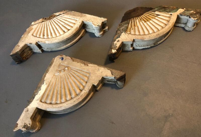 J7y Antique Set Of Carved Wood Corbels